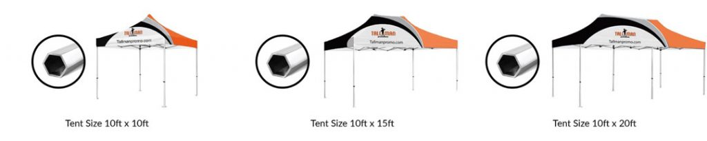 hex frame tent sizing